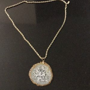 18K plated chain necklace with polished gem stone.